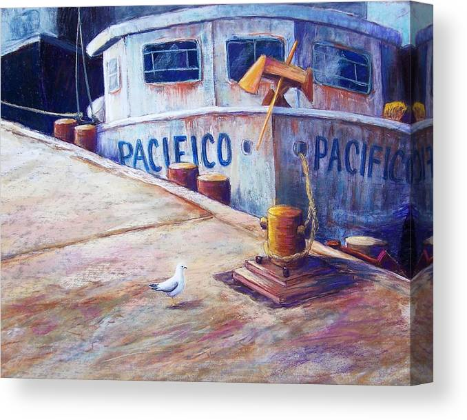 Seascape Canvas Print featuring the pastel Surveying The Fleet by Candy Mayer