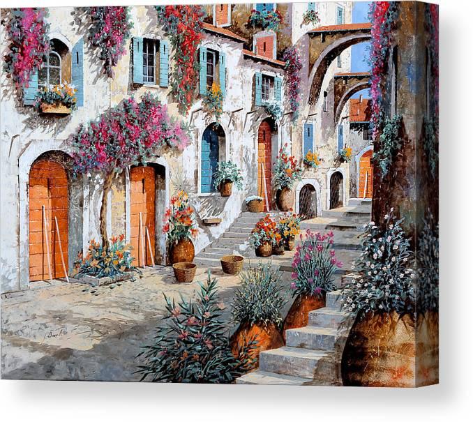 Street Scene Canvas Print featuring the painting Tanti Fiori Per Strada by Guido Borelli