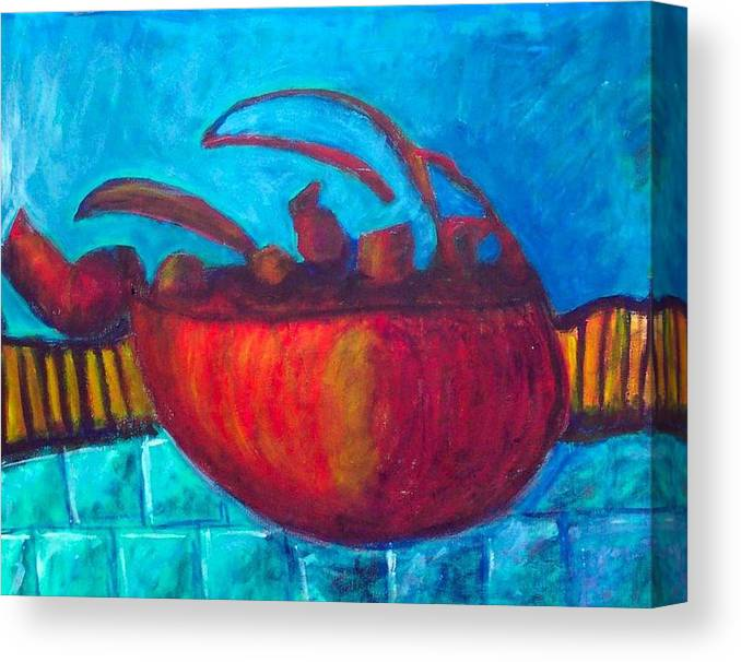 Teapot Canvas Print featuring the painting Teapot by Rebecca Merola
