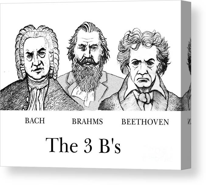 Bach Canvas Print featuring the digital art The 3 B's by Paul Helm