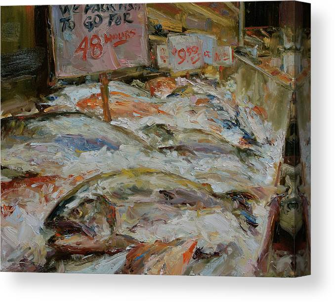 Fish Market Canvas Print featuring the painting The Fish Market by James Swanson