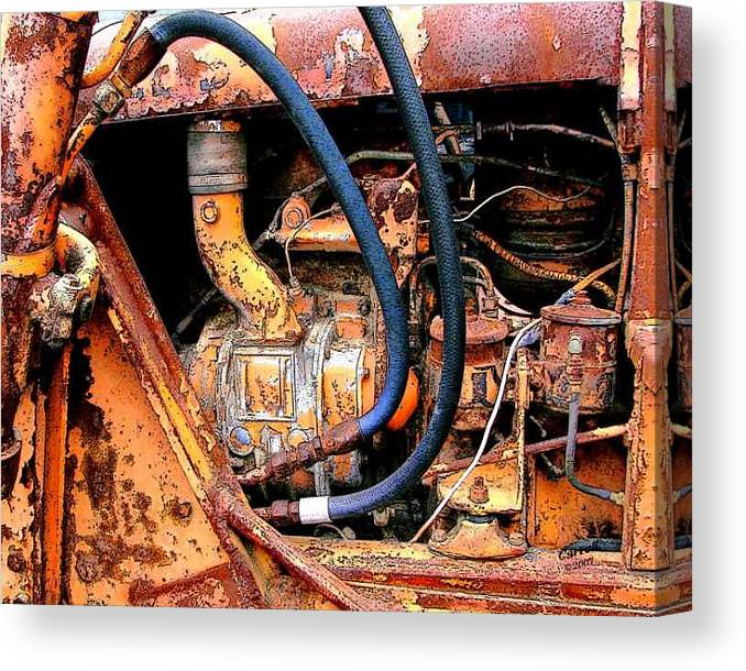 Photography Canvas Print featuring the photograph The Old Tractor by Linda Carroll