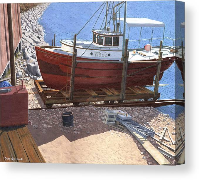 Fishing Boat Canvas Print featuring the painting The Red Troller by Gary Giacomelli