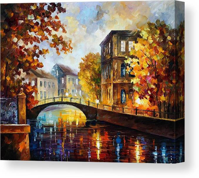 Afremov Canvas Print featuring the painting The River Of Memories by Leonid Afremov