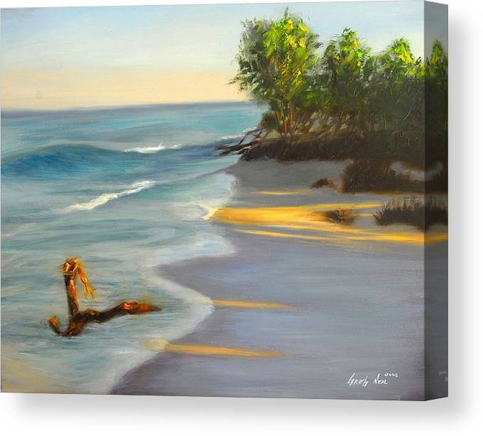 Landscape Canvas Print featuring the painting The Tide Is Blocking The Way by Greg Neal