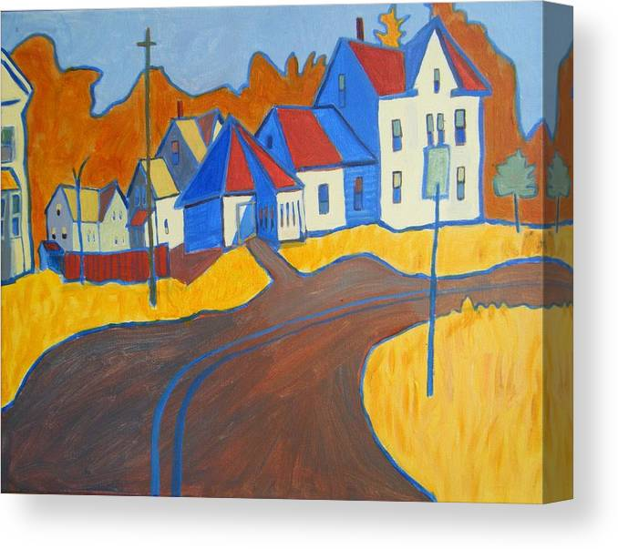 Buildings Canvas Print featuring the painting Town Center Plaistow Nh by Debra Bretton Robinson