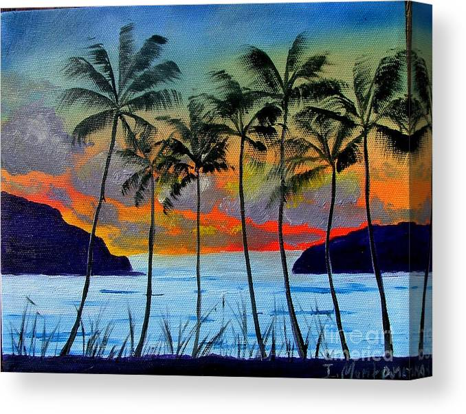 Sunset Canvas Print featuring the painting Tropical Sunset by Inna Montano