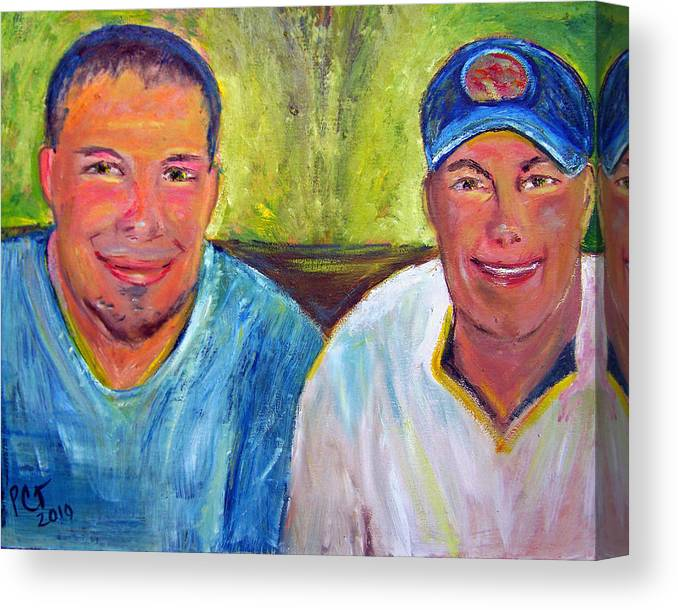 Blue Collar Guys Canvas Print featuring the painting Two Brothers by Patricia Taylor