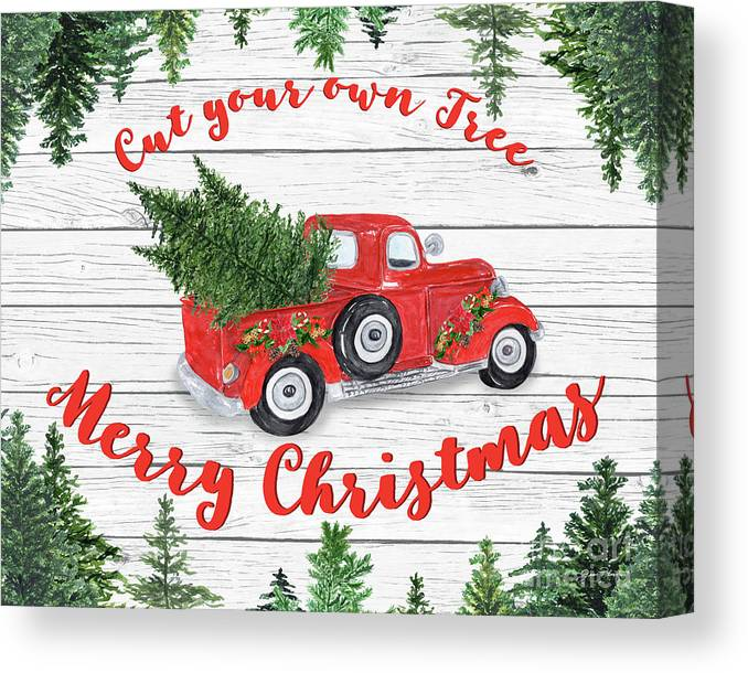 Vintage Red Truck Christmas Decor.Vintage Red Truck Christmas B Canvas Print