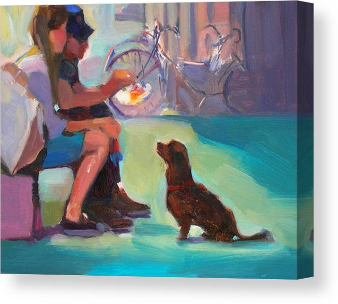 Dog Canvas Print featuring the painting Watching And Waiting by Merle Keller