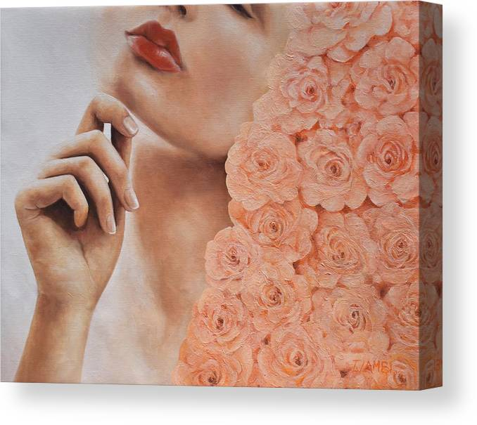 Roses Canvas Print featuring the painting What Lies Beneath by Trisha Lambi