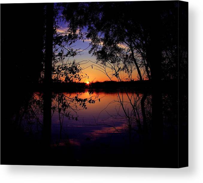 Nature Sunset Lake Darkness Shadows Sun Sky Reflection Canvas Print featuring the photograph When Darkness Comes by Mitch Cat