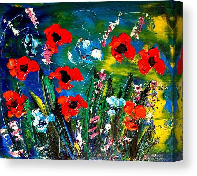 Flowers Canvas Print featuring the painting Wild Flowers by Mark Kazav
