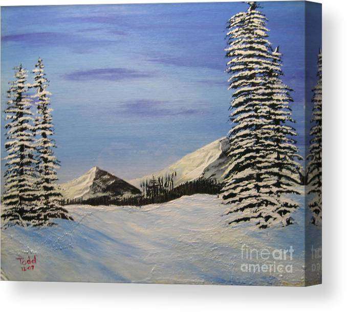 Landscape Canvas Print featuring the painting Winters Chill by Todd Androy
