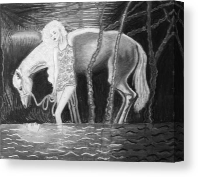Original Pastel Canvas Print featuring the painting Woman And Horse And River by Monica Smith