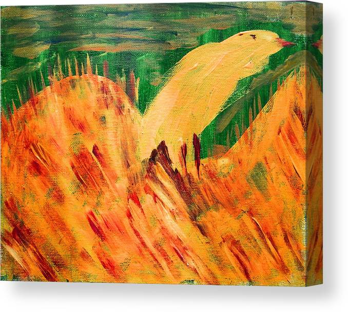 Abstract Canvas Print featuring the painting Yellow Bird by Lenore Senior