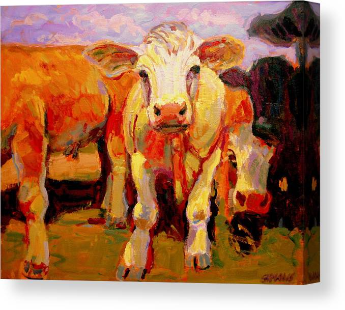 Cows Canvas Print featuring the painting Young Cow by Brian Simons