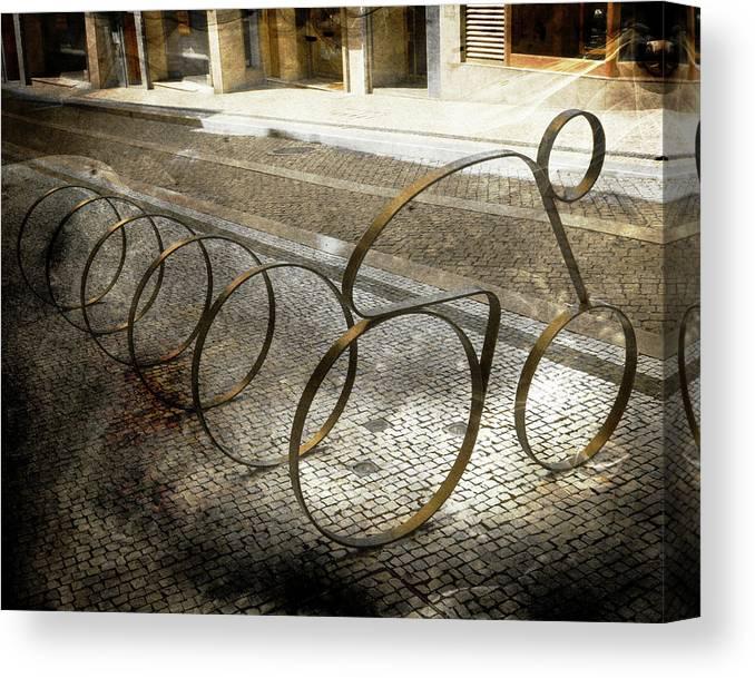 Bike Canvas Print featuring the photograph Bike Rack by Tom Reynen