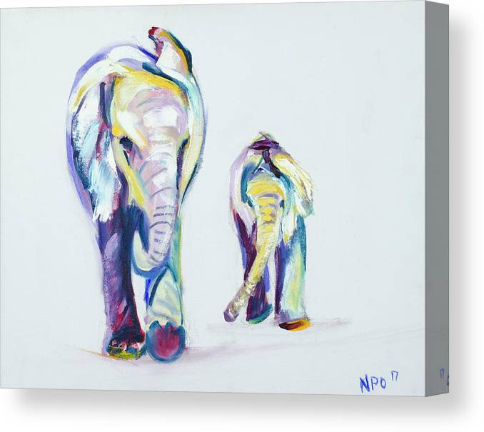 Elephants Canvas Print featuring the painting Elephants Side By Side by Nickie Perrin Paintings
