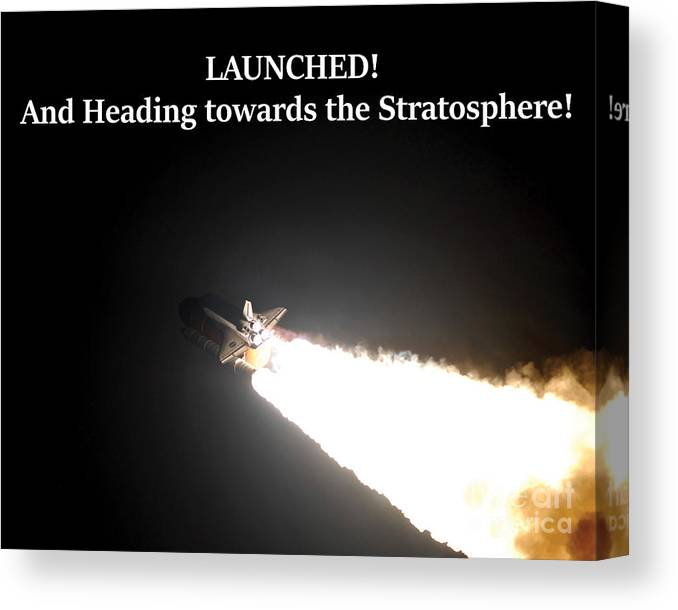 Space Shuttle Canvas Print featuring the photograph Launched And Heading Towards The Stratosphere by G Matthew Laughton