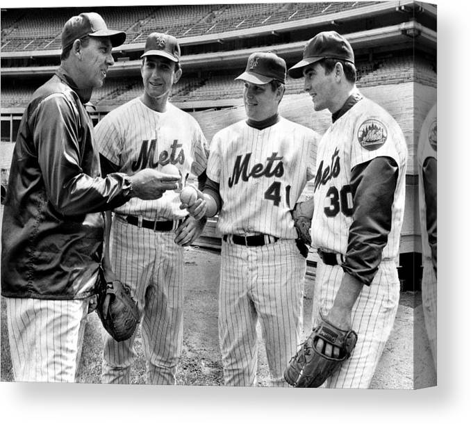 Sport Canvas Print featuring the photograph N.y. Mets Manager Gil Hodges Sports A by New York Daily News Archive