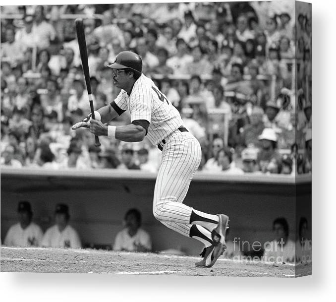 People Canvas Print featuring the photograph Reggie Jackson New York Yankees by Mitchell Reibel