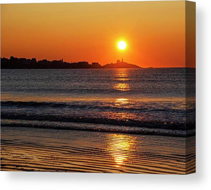 York Canvas Print featuring the photograph Sunrise Over The Nubble Lighthouse From Long Sands Beach Long Beach York Maine by Toby McGuire
