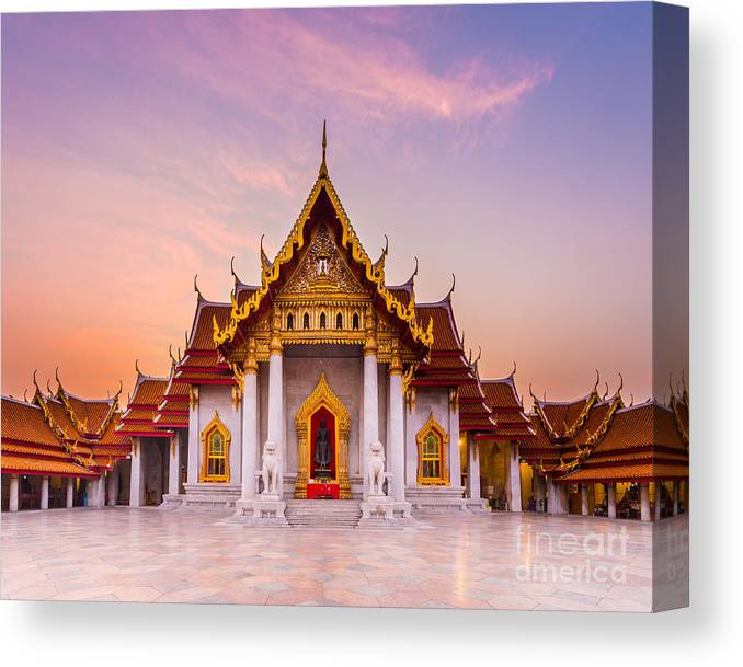 Benjamabopit Canvas Print featuring the photograph The Famous Marble Temple Benchamabophit by Pumidol
