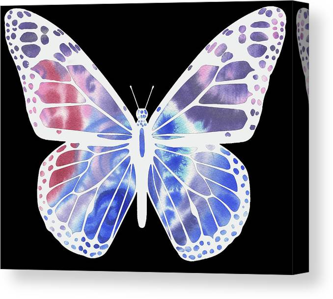 Butterfly Canvas Print featuring the painting Watercolor Butterfly On Black V by Irina Sztukowski