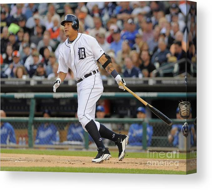 American League Baseball Canvas Print featuring the photograph Miguel Cabrera by Mark Cunningham