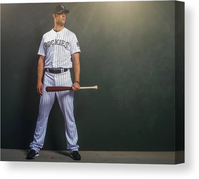 Media Day Canvas Print featuring the photograph Justin Morneau by Rob Tringali