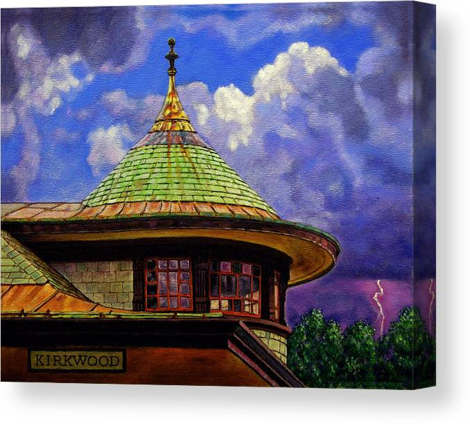 Kirkwood Canvas Print featuring the painting Kirkwood Train Station by John Lautermilch