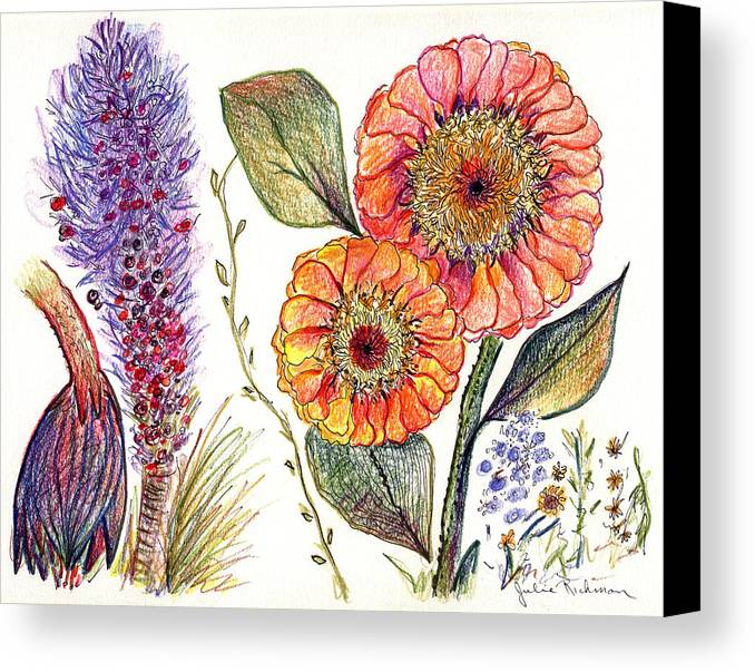 Painting Drawing Flowers Nature Abstract Prints Botany Pencil Colorful Canvas Print featuring the painting Botanical Flower-49 by Julie Richman