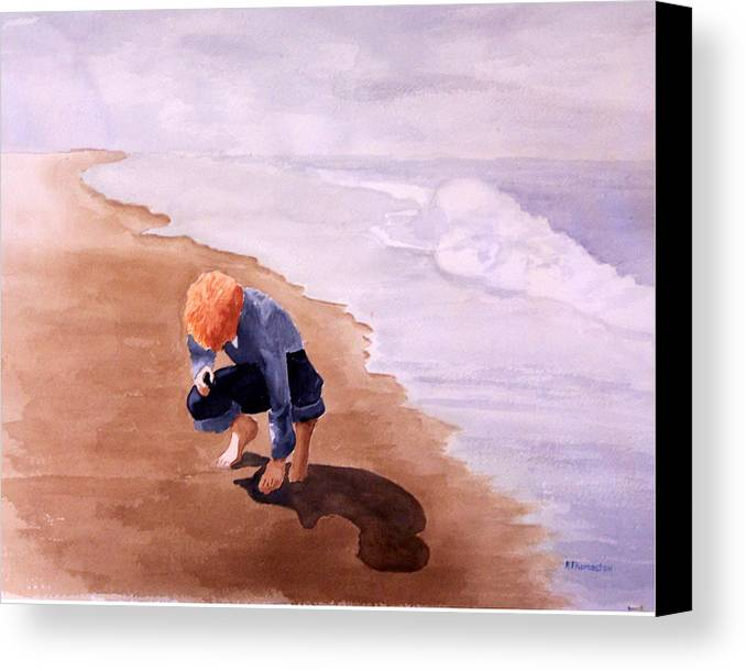 Family Canvas Print featuring the painting Boy On The Beach by Robert Thomaston
