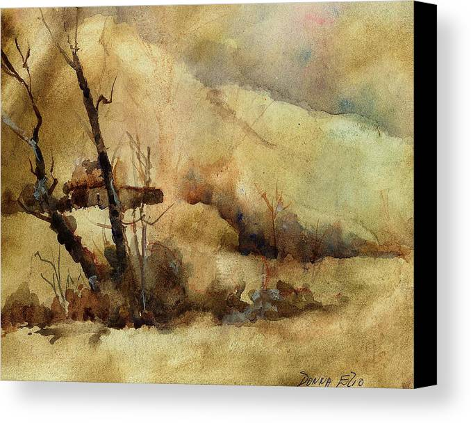 Watercolor. Impressionist. Landscape Canvas Print featuring the print Early Winter by Donna Elio