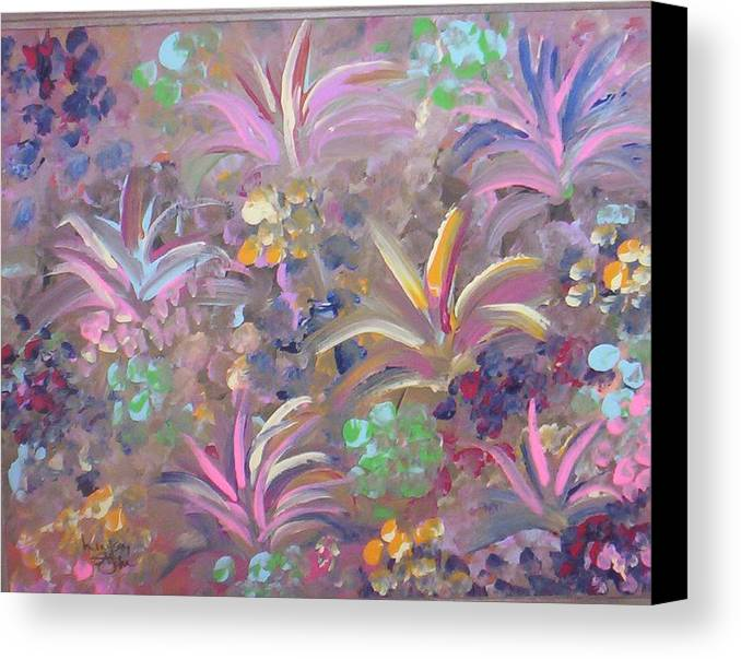 Landscape Canvas Print featuring the painting Flowers In Spring by Lindsay St john