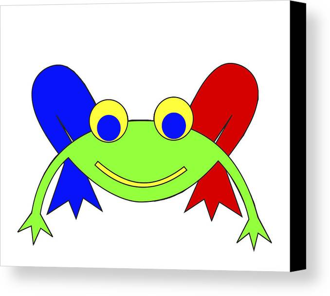 Frederic The Frog. Frederic Canvas Print featuring the digital art Frederic The Frog by Asbjorn Lonvig