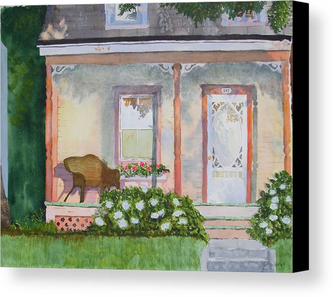 House Canvas Print featuring the painting Grandma's Front Porch by Ally Benbrook