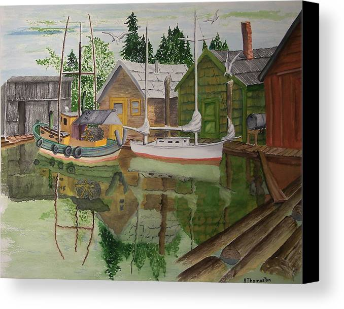 Landscape Canvas Print featuring the painting lake Union Seattle by Robert Thomaston