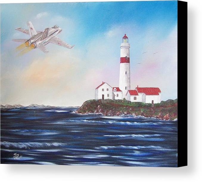 Seascape Canvas Print featuring the painting Lighthouse Fly By by Tony Rodriguez
