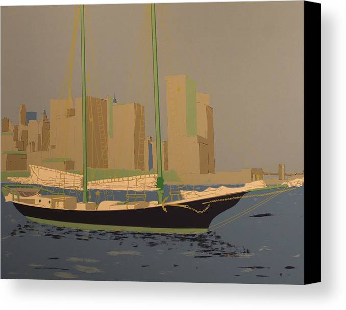 Canvas Print featuring the painting Two Masts by Biagio Civale