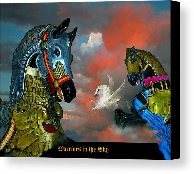 Horses Canvas Print featuring the digital art Warriors In The Sky by Bette Gray