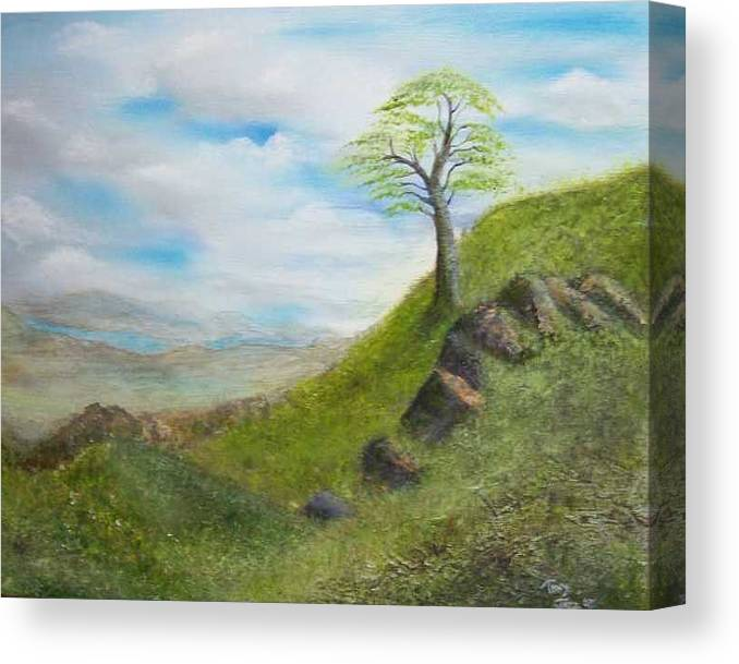 Landscape Canvas Print featuring the painting Clouds by Tony Rodriguez