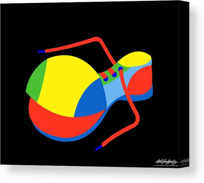 Clown Canvas Print featuring the digital art Clown Shoe by Asbjorn Lonvig