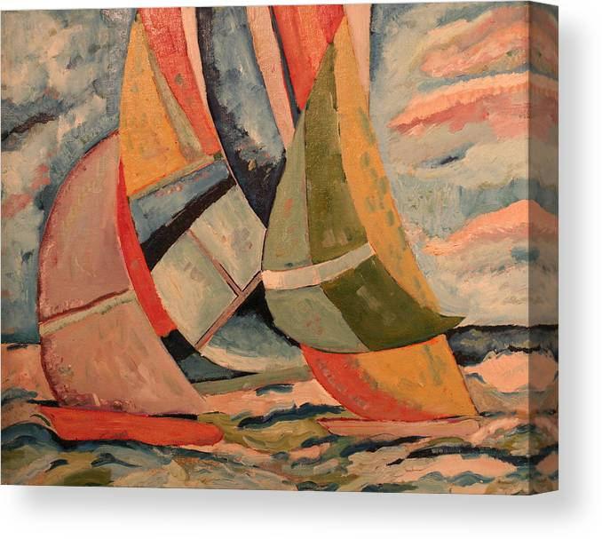 Canvas Print featuring the painting Sailboats by Biagio Civale