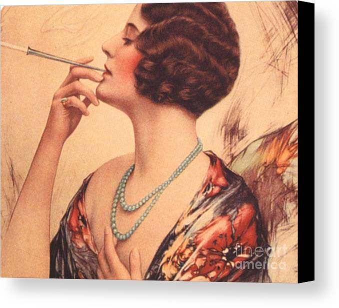 1920�s Canvas Print featuring the drawing 1920s Usa Women Cigarettes Holders by The Advertising Archives