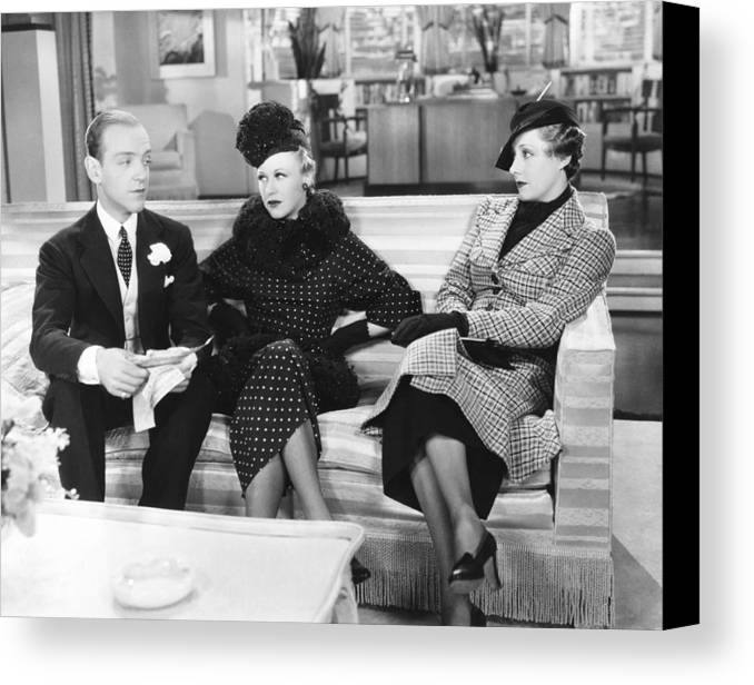 1930s Movies Canvas Print featuring the photograph Roberta, From Left Fred Astaire, Ginger by Everett