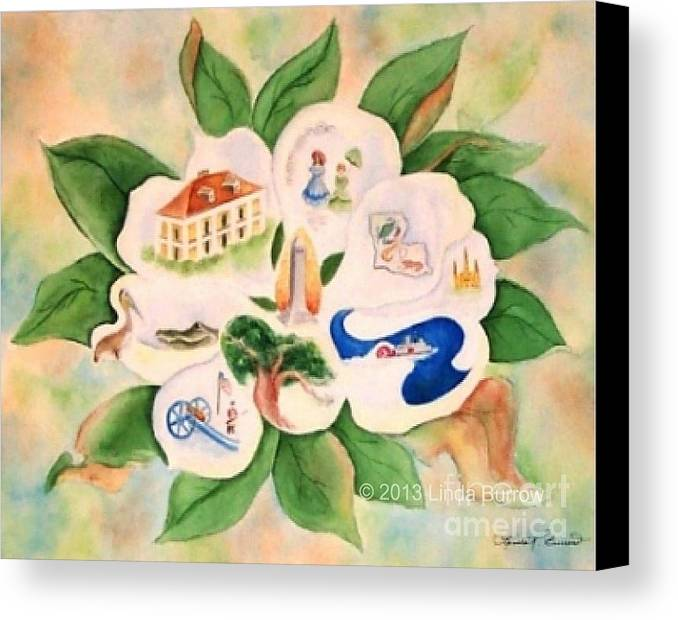 Magnolia Canvas Print featuring the painting Southern Magnolia by Linda Burrow