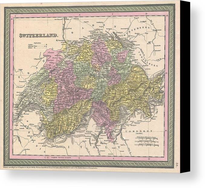 Canvas Print featuring the photograph 1853 Mitchell Map Of Switzerland by Paul Fearn