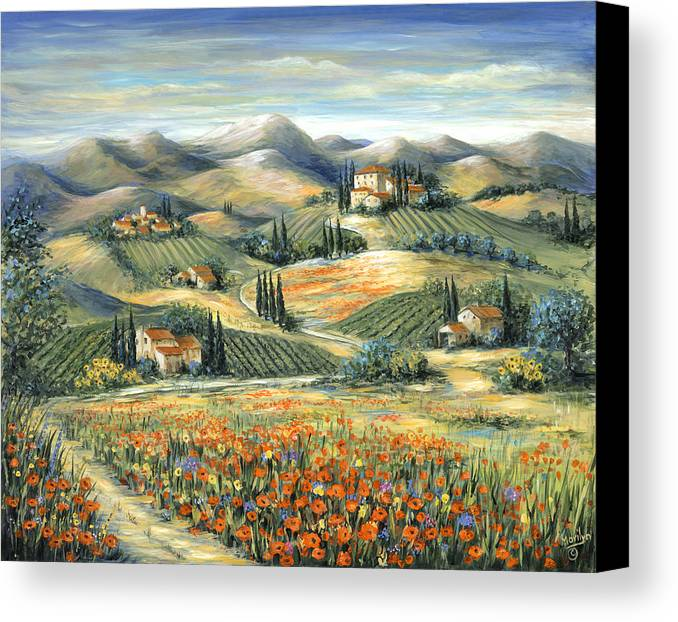 Tuscan Villa And Poppies Canvas Print Canvas Art By